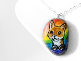 Rainbow Fox Pendant Necklace by sobeyondthis