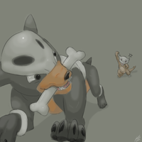 Houndour and Marowak by Exxthus