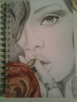 rihanna drawing + painting       age 14 by chloeleggett46
