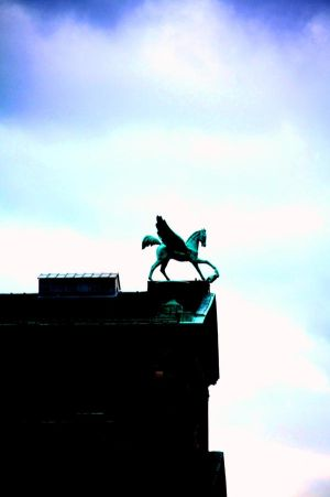 A Pegasus Flies Over Berlin