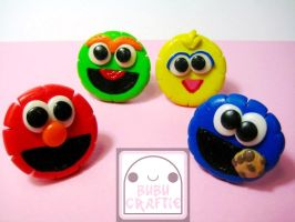Sesame Street Adjustable Rings by efeeha