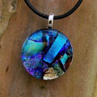 Blue Love Fused Glass Pendant2 by FusedElegance