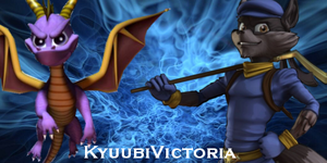 Sly Cooper and Spyro Wallpaper by KyuubiVictoria