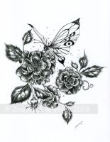 Wild Roses and Butterfly_Ink by JoannaBromley