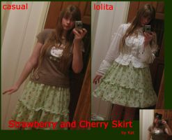 Strawberry and Cherry Skirt by shoujo-neko