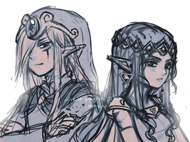 loz -- vaati and hilda WIP by onisuu