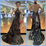 Side-swept printed gown + purse outfit thingy by Lil-Hawk