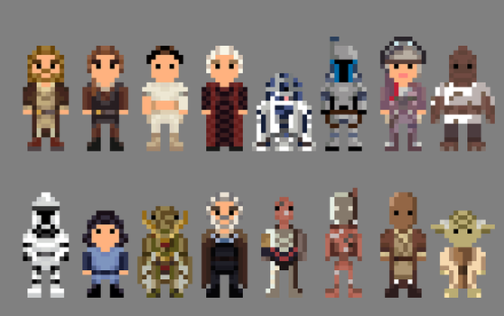 Star Wars Attack of the Clones Characters 8 bit by LustriousCharming