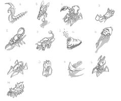 Creature Thumbnail concepts by merbel