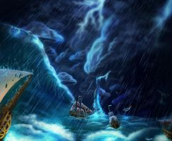 Ships at stormy sea by Deadguybeer
