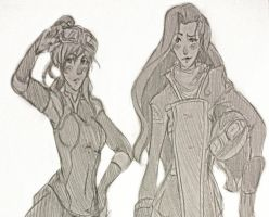 korra and asami quick sketch by kataang-sasusaku