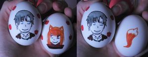 Spice and Wolf Easter Eggs by crazedhobbit