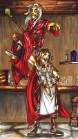 Raistlin n Caramon: Putting on a Show by Kabudragon