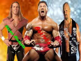 HBK,Batista and Stone cold by Trunks36