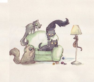 couch cats by VODKABABY