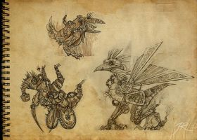 Steampunk creatures by JR-Dragona