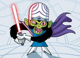 Mojo Jojo with a lightsaber by Culu-Bluebeaver