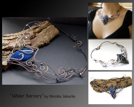 Water sorcery- wire wrapped necklace by mea00