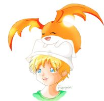 Gift- Takeru and Patamon by Tanpopo89