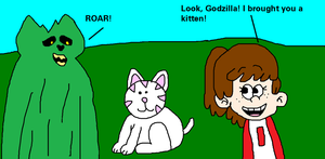 Lynn Loud Brought Godzilla a Kitten! by MikeEddyAdmirer89