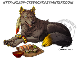 Sushi Time Wolf by lady-cybercat