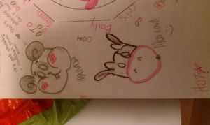 Freaking fat panda and scared cow doodles by AliceLovesChes