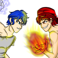 Blue Water And Red Fire by Demonic-stickfigures