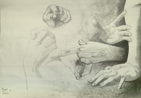 Hands a study on works by Caravaggio by SvenThebandie