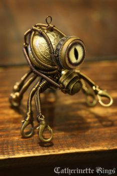 Steampunk Octopus Minion Robot by CatherinetteRings