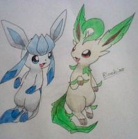 Glaceon and Leafeon by Bluekiss131
