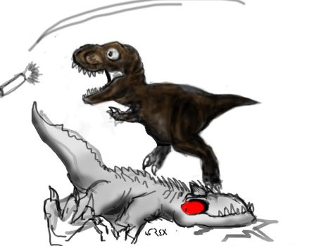 T.Rex vs I.rex by Wolfhooligans