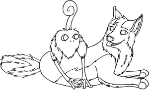 Zennie and Ivik Lineart by Wildbatty