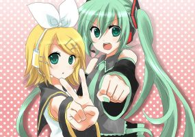 Hatsune Miku and  Rin Kagamine by vocaloid-REDLIGHT