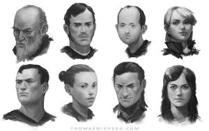 Face sketches by thomaswievegg