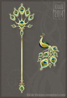 Peacock Staff and Brooch by Rittik-Designs
