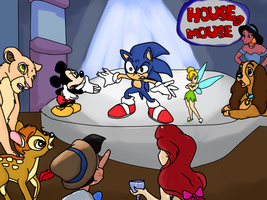 Sonic goes to the House of Mouse by Skylar-Wolf