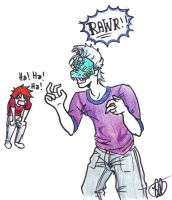 Grimmjow and his Dinosaur Mask by minsra
