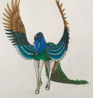 Peafowl Pegasus by IndigoCharger