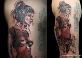 Woman Warrior With Guns by Remistattoo