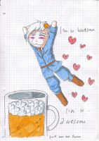 Prussia and his beer by AnnieFliesAway