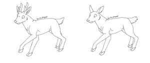 free doe and stag lineart by CaptainDashund