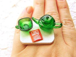 Tea Ring Green Teapot Cup by souzoucreations