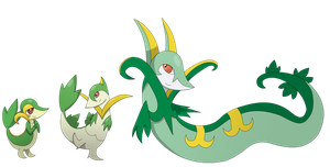 Snivy, Servine, and Seperior by Sandstormer