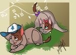 Mabel and Dipper kitties by MrsWhisker