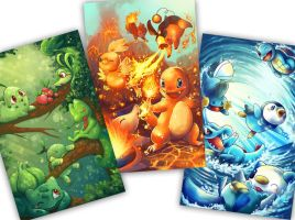 ALL POKEMON STARTERS POSTERS! by michellescribbles