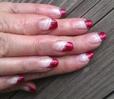 20140208 Red tips with lace stamping by m-everhamnails