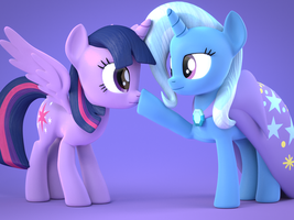 [Blender] Trixie Nose Boops Twilight by MythicSpeed
