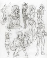 Character pose sketches by Disimprison