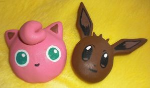 Jigglypuff and Eevee Poke Pins -Prize- by 13anana