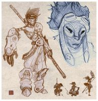 Monkey King sketches by Parkhurst